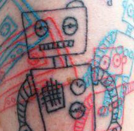 Overlapped Robots and Cassette Tapes Tattoo