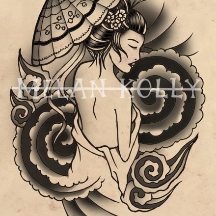 Geisha with Parasol and Clouds