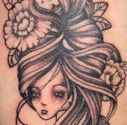 Pretty Girl with Skull & Flowers Back Tattoo