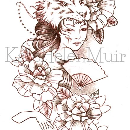 Tiger Head Gypsy with Fan & Roses