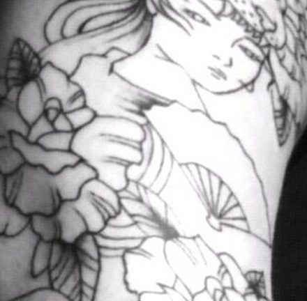 Lady, Tiger head and Roses Tattoo