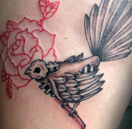 Fantail Skull and Rose Tattoo