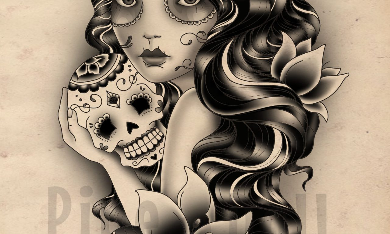 Custom Gypsy and Sugar Skull Tattoo Design
