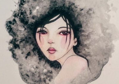 Salty Waters – Water Colour and Salt Painted Girl