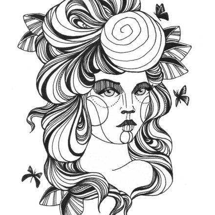 Ink Line Drawing Girl – Needs no Direction