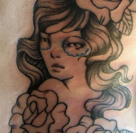 Gypsy Girl and Roses Side Tattoo