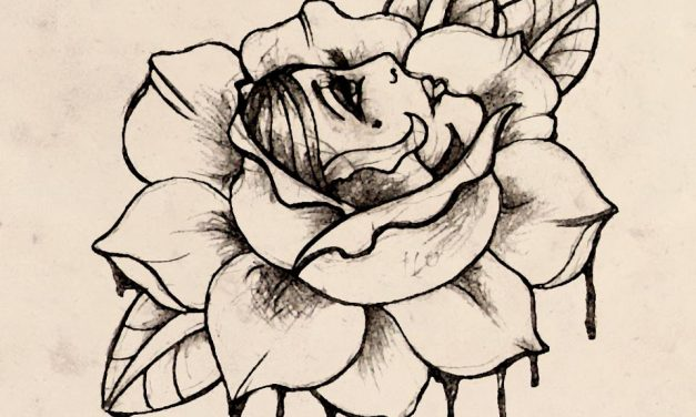 Flower Face Gypsy Girl Tattoo Design