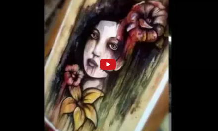 Water Colour Speed Painting of Face and Flowers