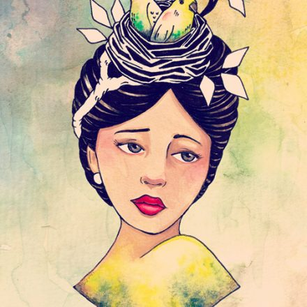 Beth's Nest – Water Colour Painting of Vintage Lady with Birds and Nest in Hair
