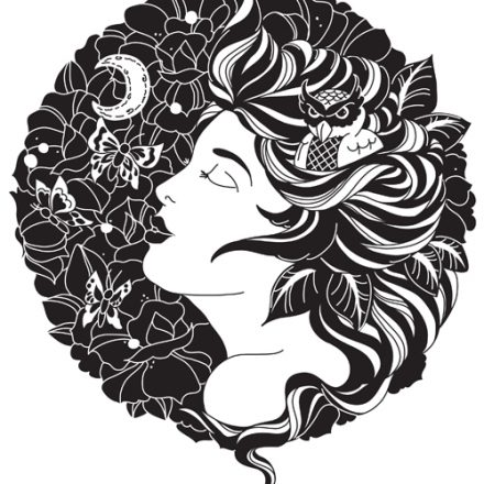 Night Owl – Digital Design of Lady, Owl, moon and Flowers