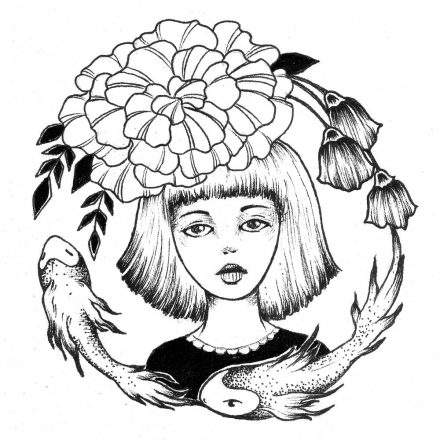 Ink Girl  – Girl, Fish and Flowers Ink Drawing