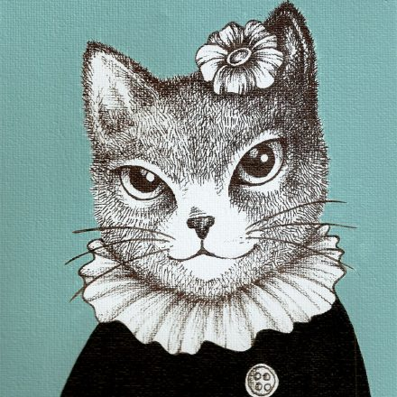 Paint and Ink drawing on Canvas – Blue Cat