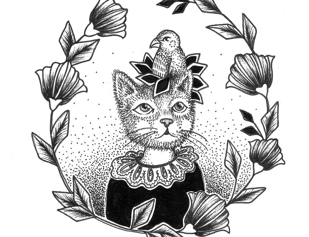 Cat Ink Design – Cat and Bird