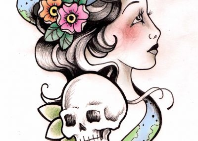 Gypsy Girls and Snake Tattoo Design