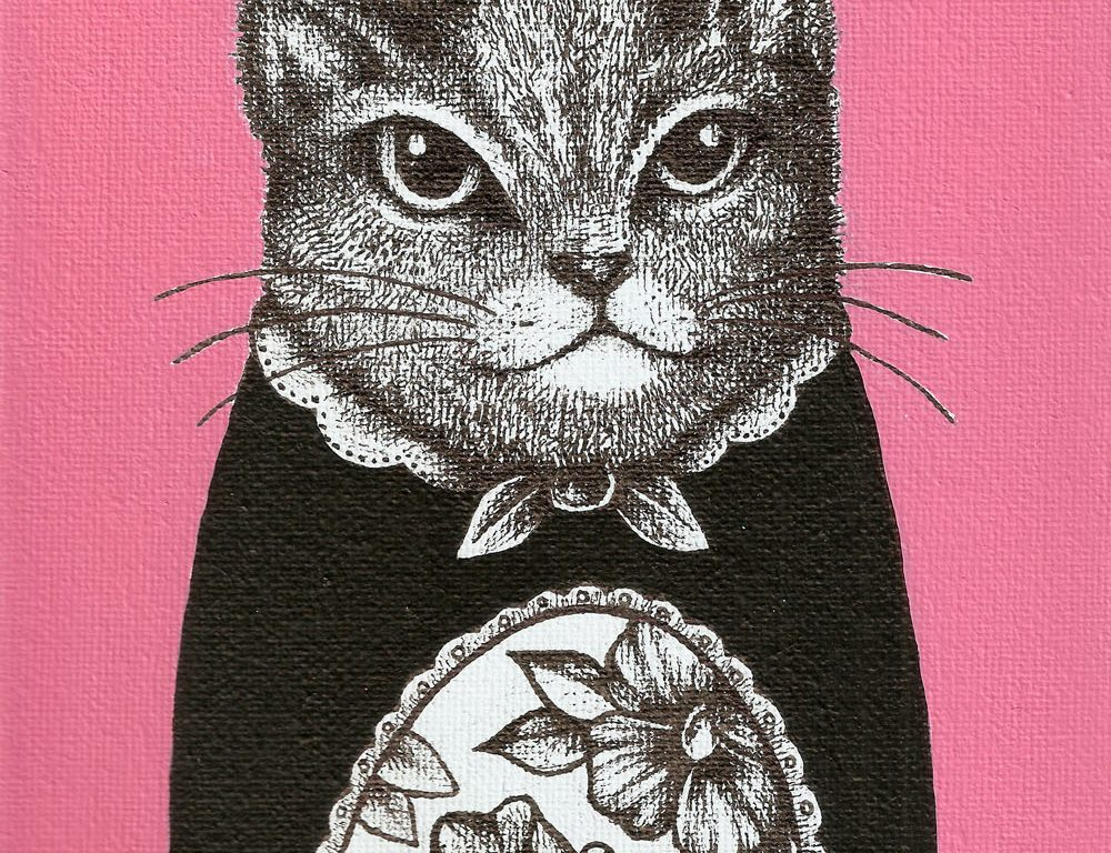 Paint and Ink drawing on Canvas – Pink Cat