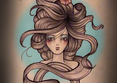 Sugar Hair Pretty Girl Tattoo design