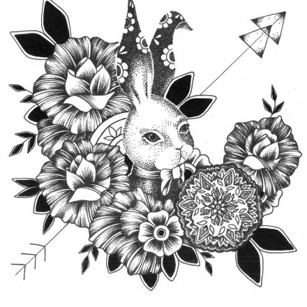 Rabbit and Roses